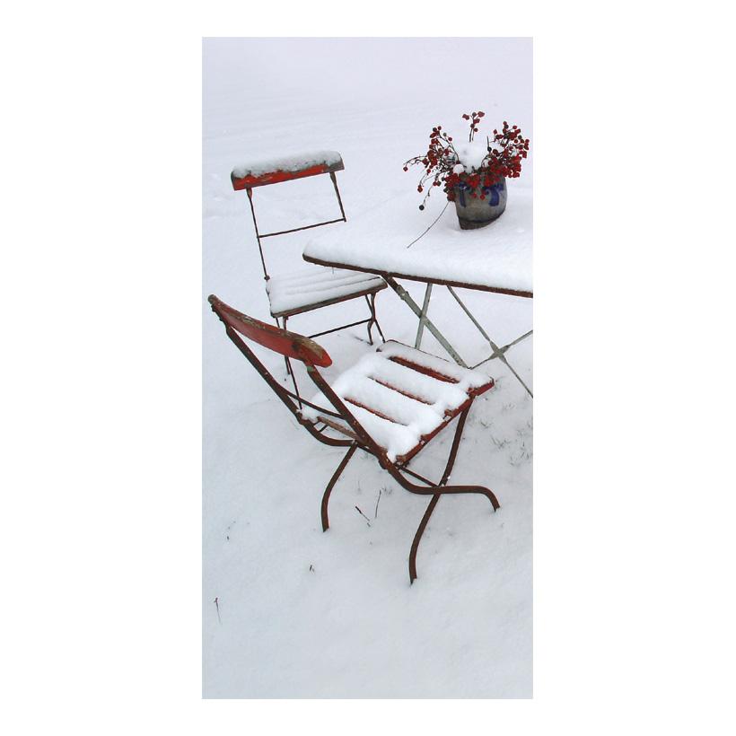 """# Motivdruck """"Gartenstühle im Schnee"""", 180x90cm Papier"""