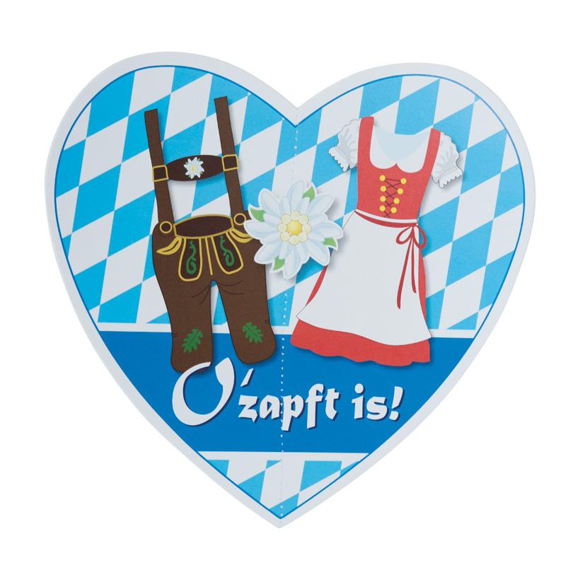 # Papier-Herz mit Aufschrift, O' zapft is! mit Nylonhänger