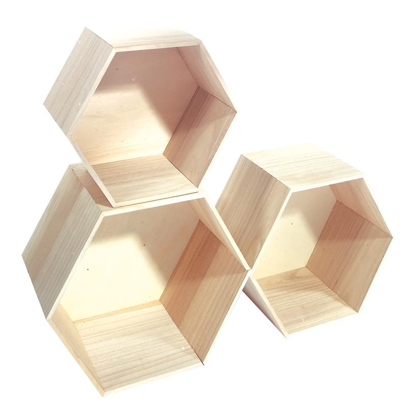 Holzpräsenter max. 35x30x20 cm Holz, sechseckig, 3 Stck./Satz