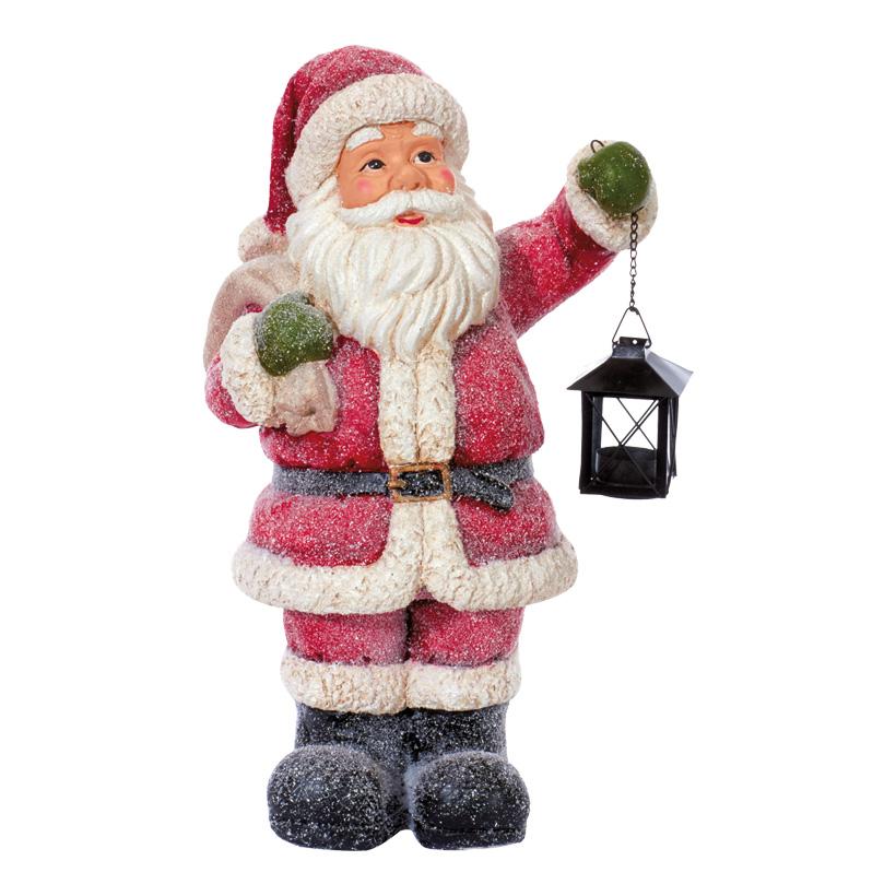 Weihnachtsmann 50x13x18cm, mit Laterne, Polymagnesium, leicht beschneit