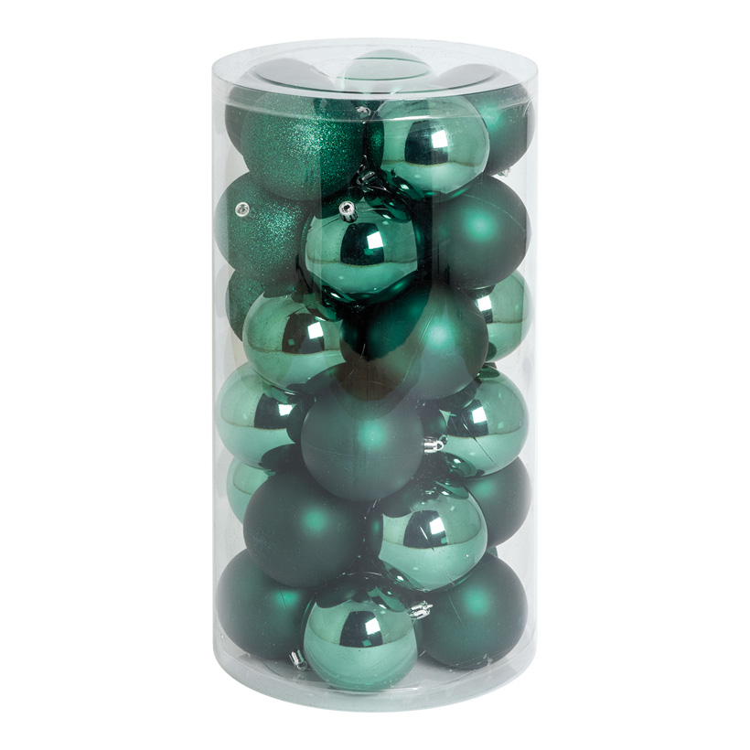 30 Weihnachtskugeln, dunkelgrün, Ø 8cm 12x glänzend, 12x matt, 6x beglittert