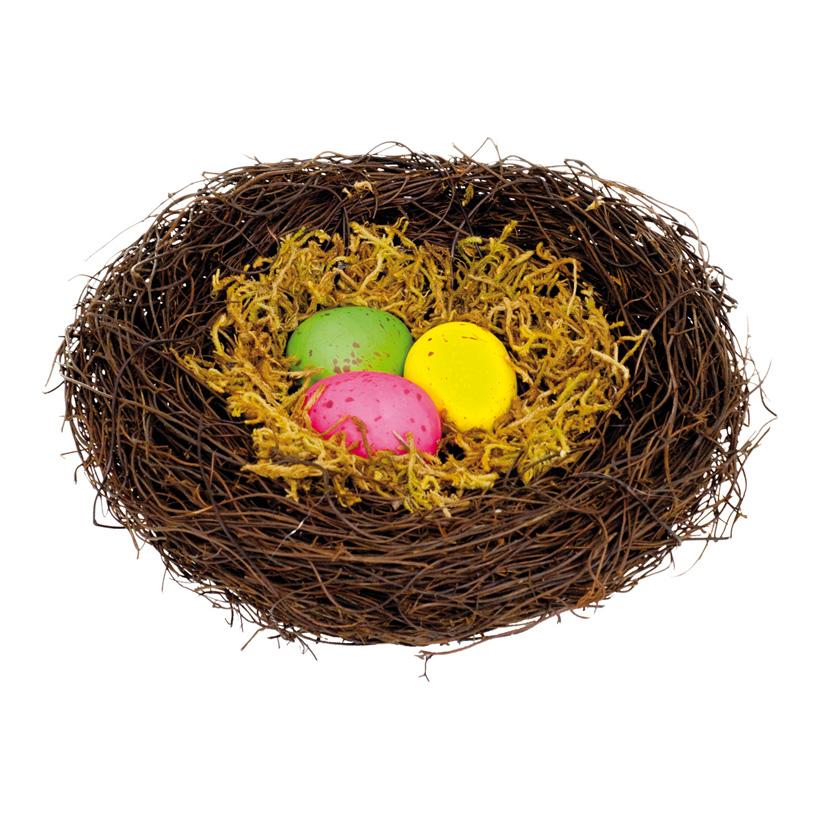 Vogelnest, Ø 25cm, mit 3 Eiern, Holzzweige