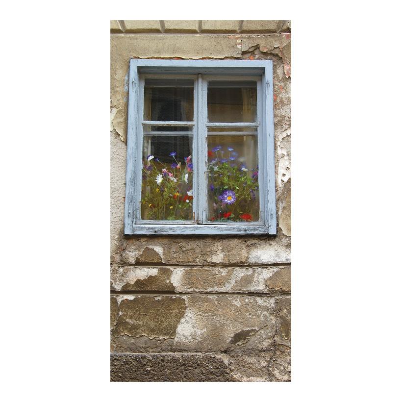 """# Motivdruck  """"Blumenfenster"""", 180x90cm Papier"""