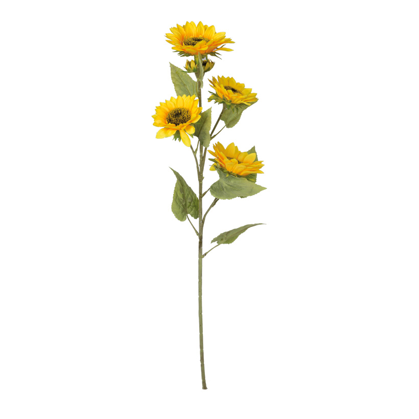 Sonnenblume, Blüte in Ø15cm, 3 xØ13cm, 1xØ7cm, 115cm, 5-fach, Kunstseide