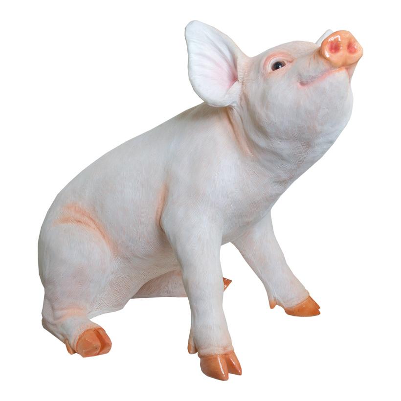 # Schwein, sitzend, 43x27x36cm, Polyresin, für Innen und Außen