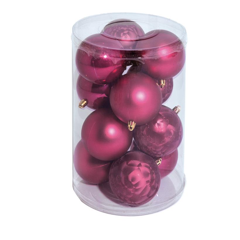 12 Weihnachtskugeln 8cm aus Kunststoff, im Blister, 4x glänzend, 4x matt, 4x gefrostet