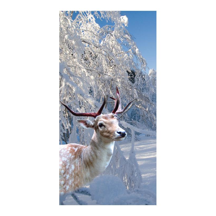 """# Motivdruck """"Hirsch im Schnee"""", 180x90cm Papier"""