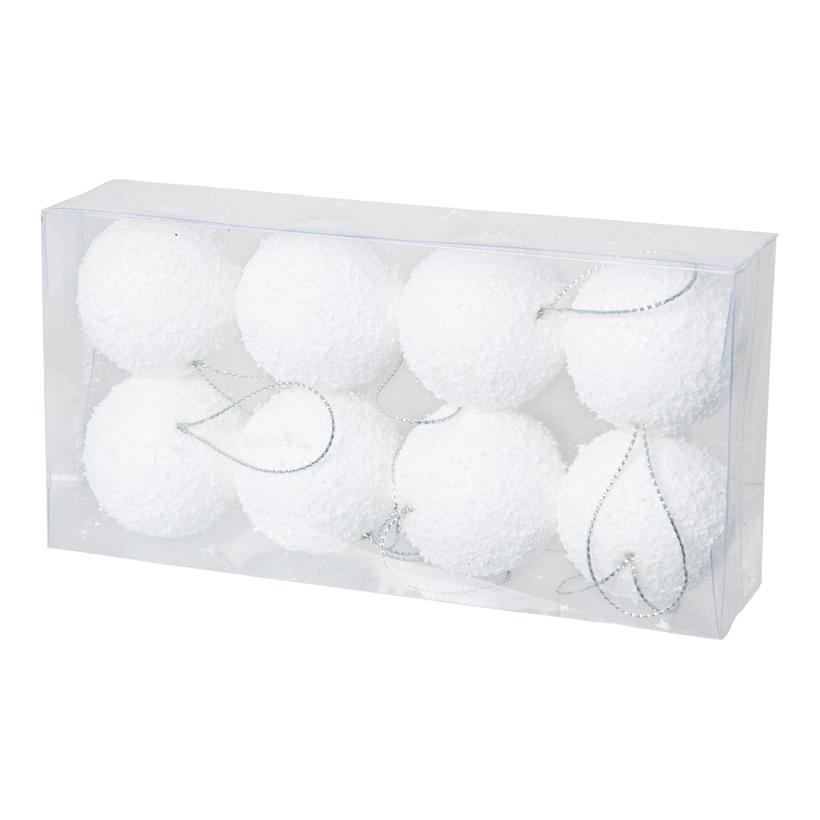 Schneekugeln, Ø 4cm, 8Stck./Blister, mit Hänger, Styropor