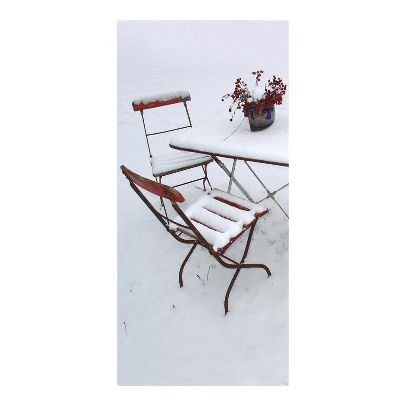 """# Motivdruck """"Gartenstühle"""", 180x90cm Stoff"""