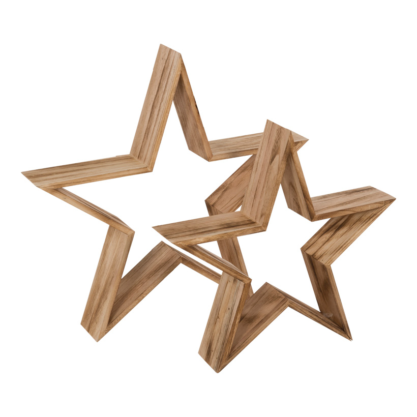 Holzsterne, 82x78x9cm+62x59x9cm, 2tlg.