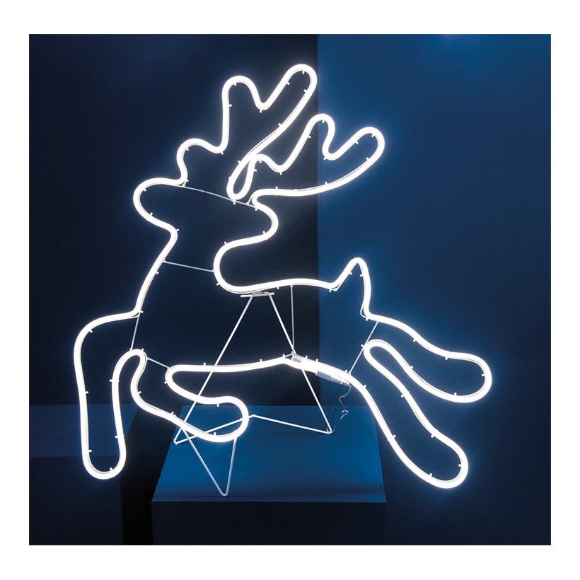 """Neon-Figur """"Rentier"""", 72x75cm 230V, IP44, 1,5m Zuleitung, LED-Lampe mit Stecker,  springend"""