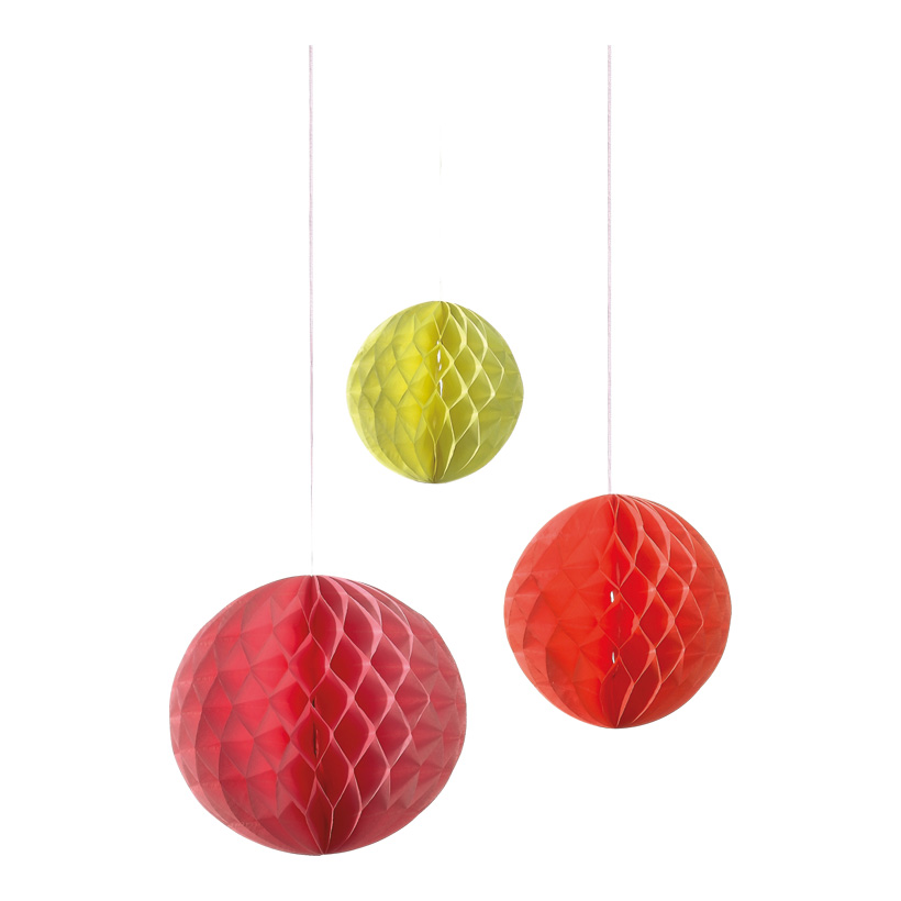 # Wabenball 20/25/30 cm Papier, 3 Stck./Satz rosa/orange/gelb