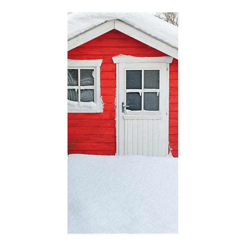 """# Motivdruck """"Häuschen im Schnee"""", 180x90cm Papier"""