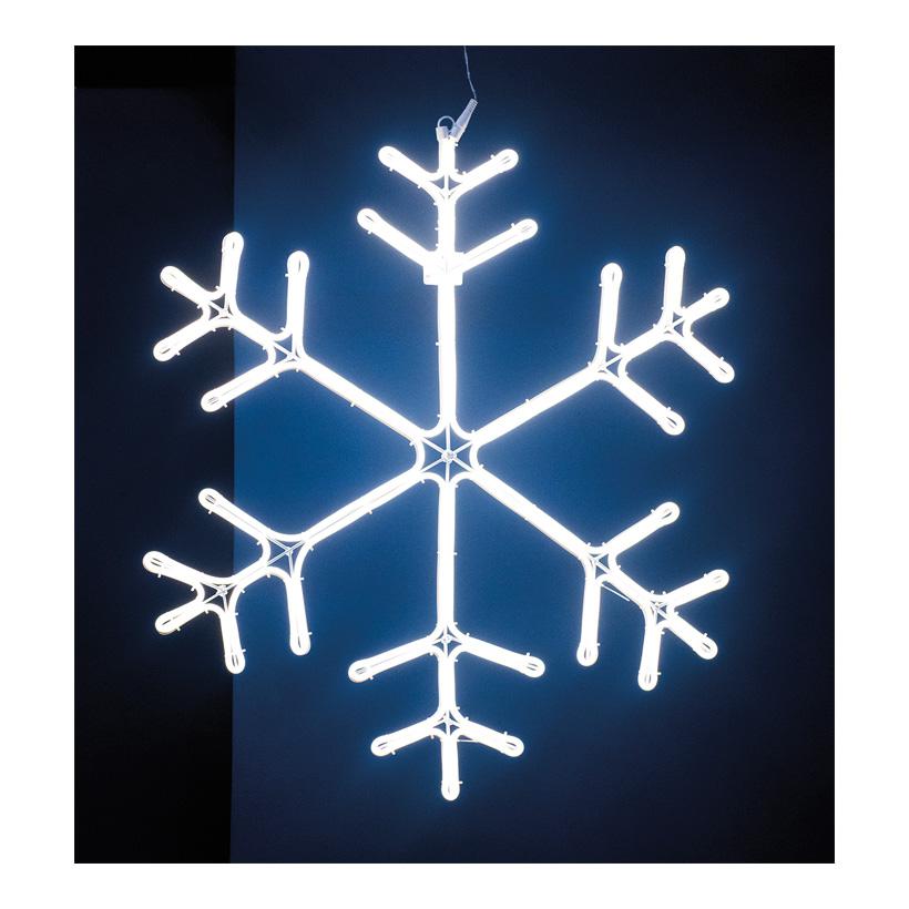 Neon-Schneeflocke Ø 70cm, 230V, IP44, 1,5m Zuleitung, LED-Lampe mit Stecker