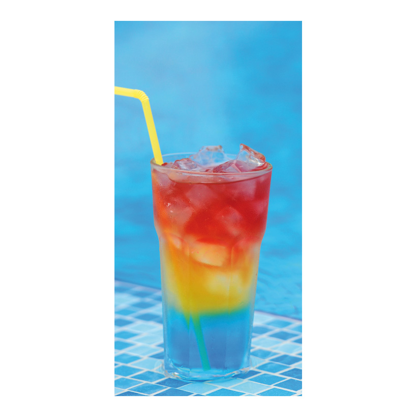 """# Motivdruck """"Cocktail am Pool"""", 180x90cm Papier"""
