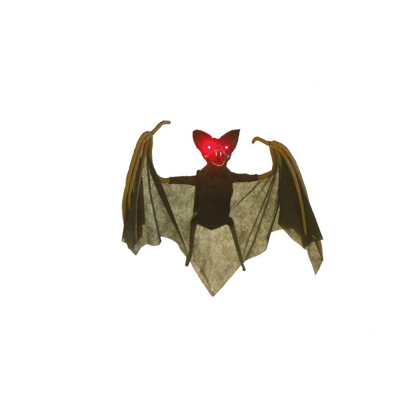 Fledermaus, 90x35cm macht Geräusche und bewegt die Flügel, Augen blinken rot, mit Hänger, batteriebetrieben, 3x AAA, nicht inklusive