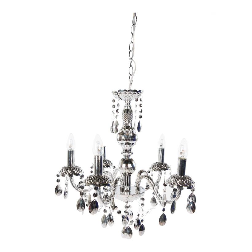 Kronleuchter, Ø 50x85cm, aus Perlenketten, für 5 Glühbirnen, Strombetrieb, ohne Stecker