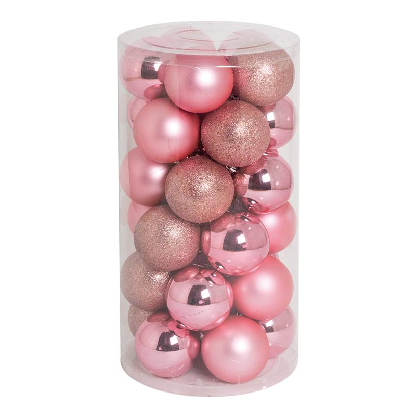 30 Weihnachtskugeln, rosa, Ø 8cm 12x glänzend, 12x matt, 6x beglittert