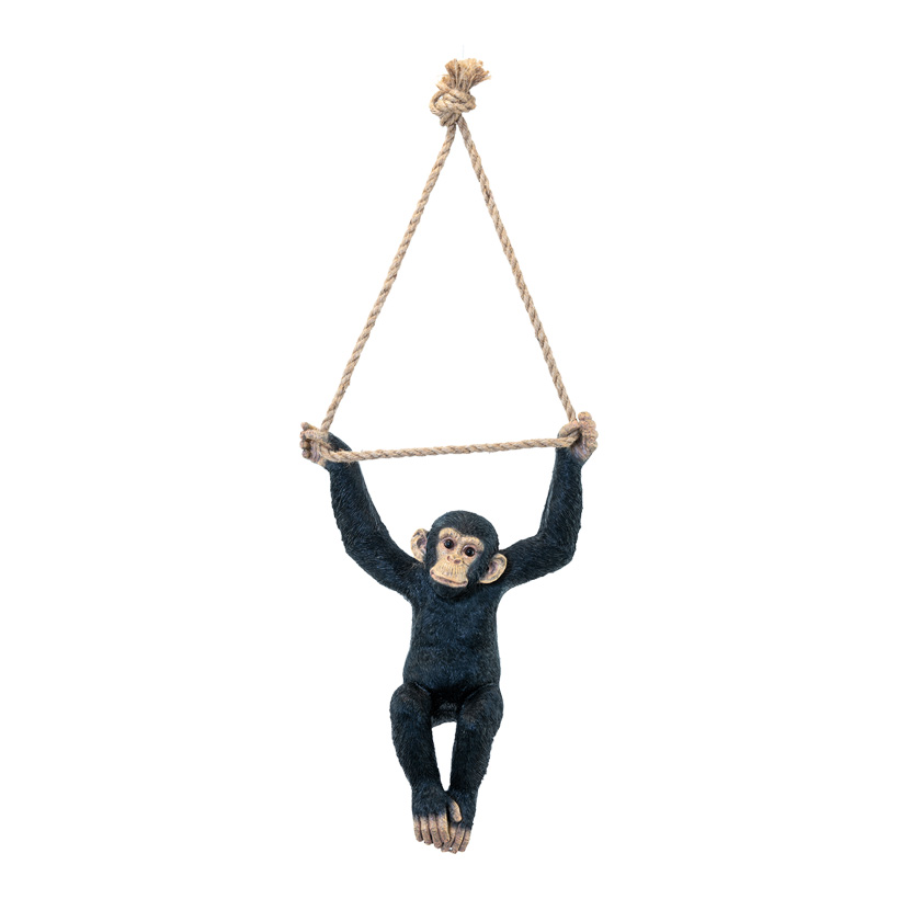 Affe, H: 43cm B: 31cm zweiarmig hängend, mit Seil, aus Kunstharz