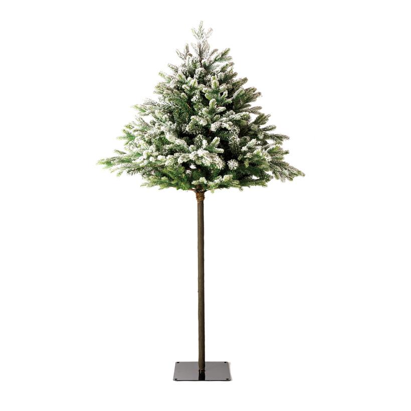 Tannenbaum, 210cm Ø110cm mit Holzstamm, beschneit, 4-teilig