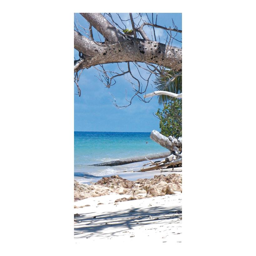 """# Motivdruck """"Einsamer Strand"""" 180x90cm Stoff"""
