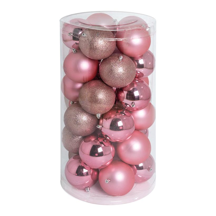 30 Weihnachtskugeln, rosa, Ø 10cm 12x glänzend, 12x matt, 6x beglittert
