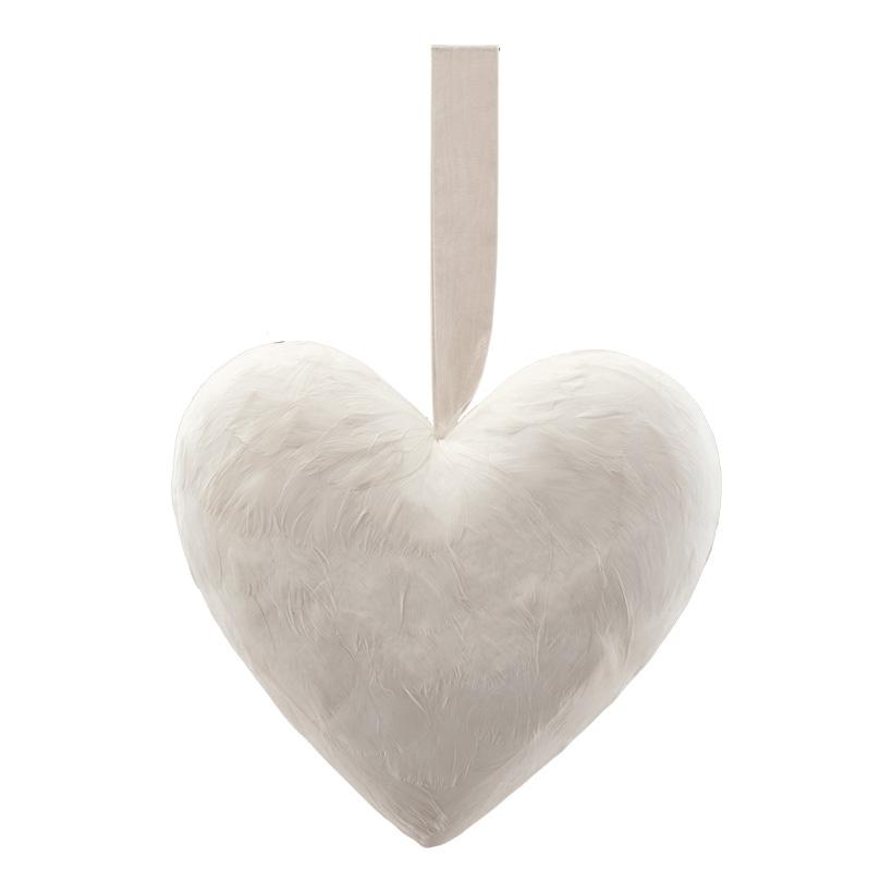 Herz mit Hänger, H: 21cm bezogen mit Federn, aus Hartschaum