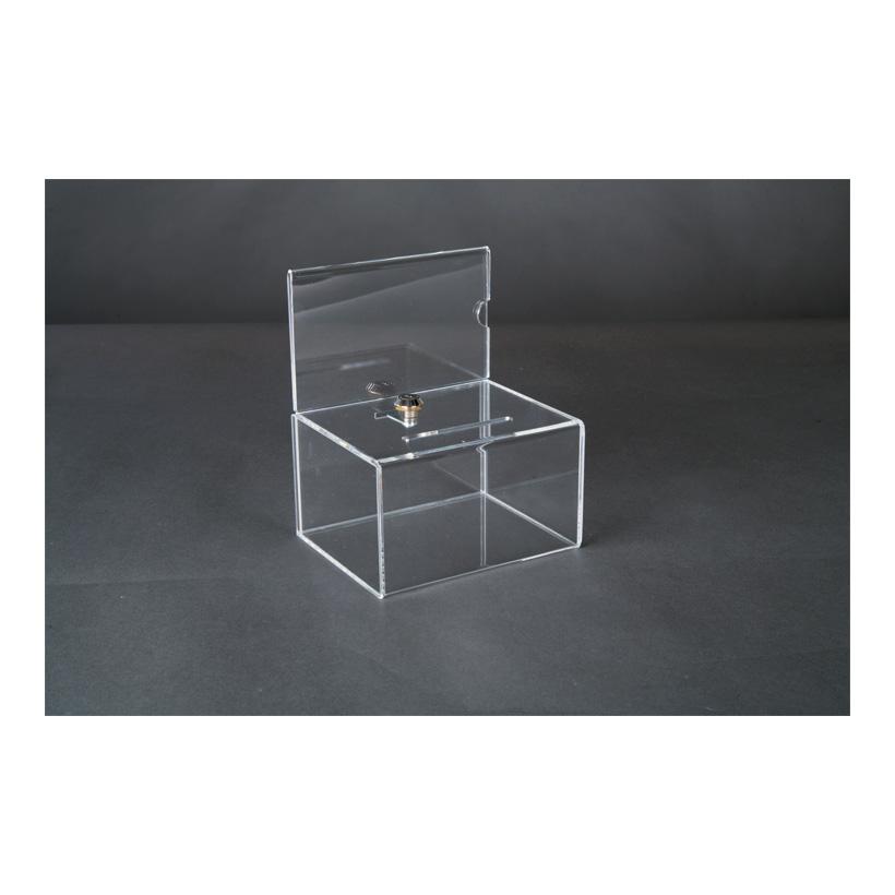 # Acryl-Losbox, 20x20x20cm mit abschließbarer Klappe, mit Plakateinschub