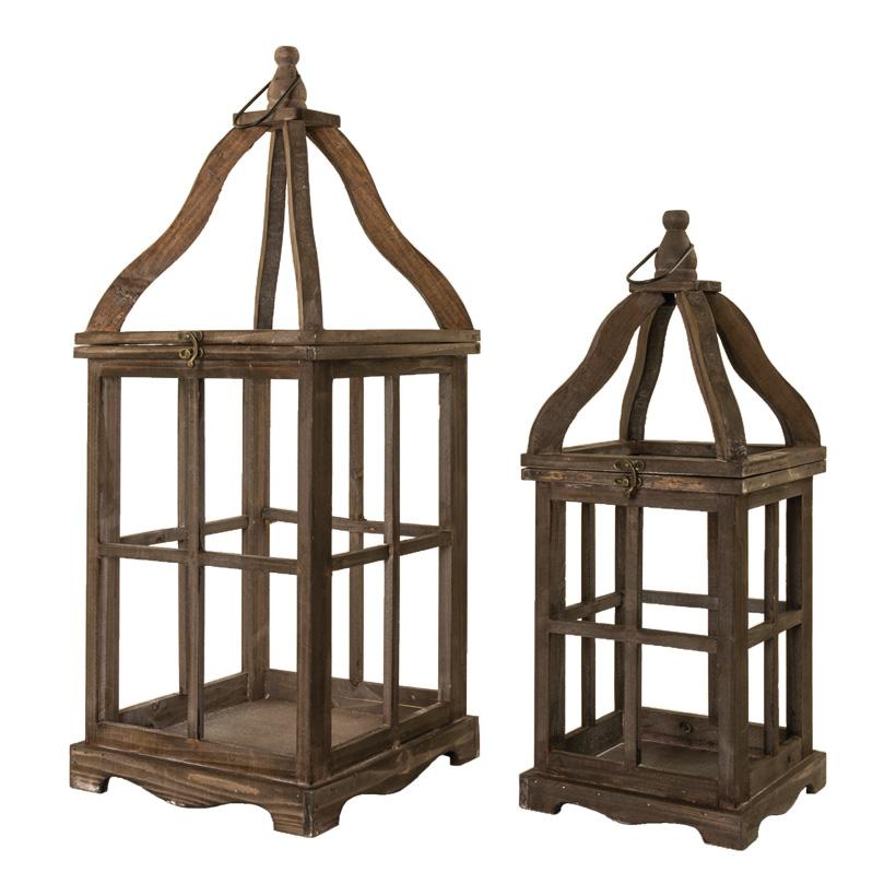Holzlaternen, 21x21x52cm 28x28x68cm XXL, im 2er-Set, ineinander passend, ohne Fenster
