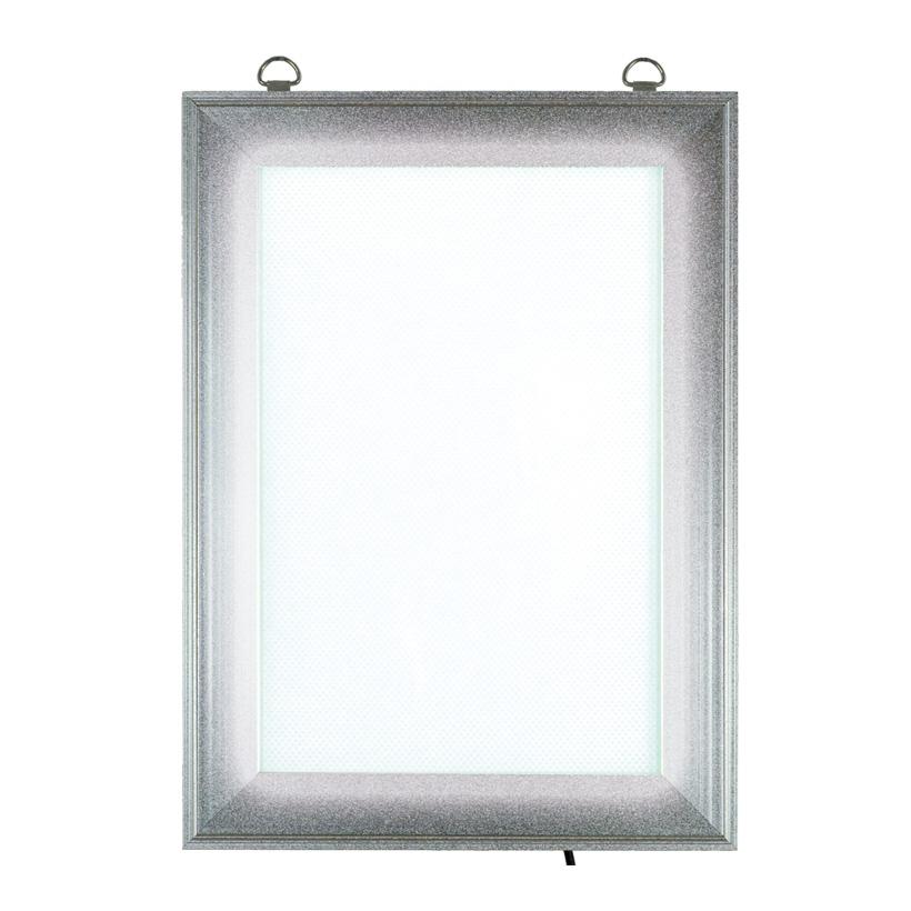 # LED Klapprahmen, Maße innen: 17,5x26cm, Maße außen: 24x32,5cm, DIN A4, vorne 4-fach zu öffnen, Hochformat, Stecker 240V input - 12V output