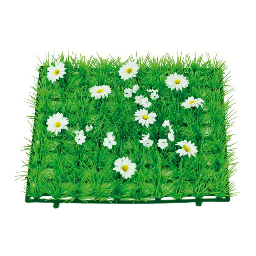 "Grasplatte ""Gänseblümchen"", 25x25cm, Kunststoff, Kunstseide"