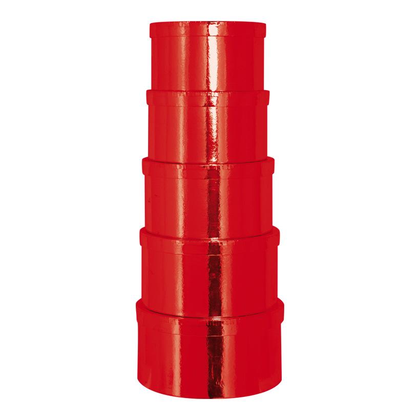 Boxen, Ø20x11,5cm - Ø26x13,5cm, 5 Stk./Satz, rund, nestend, Pappe