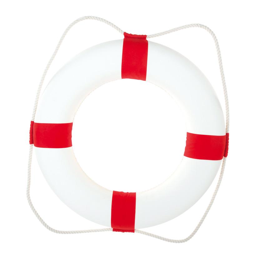 # Rettungsring mit Tau, Ø 75cm, Styrofoam mit Baumwolle überzogen