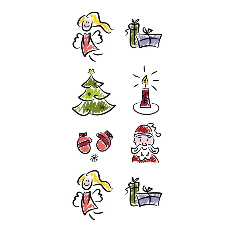 """# Motivdruck  """"Weihnachtssymbole"""", 180x90cm Papier"""