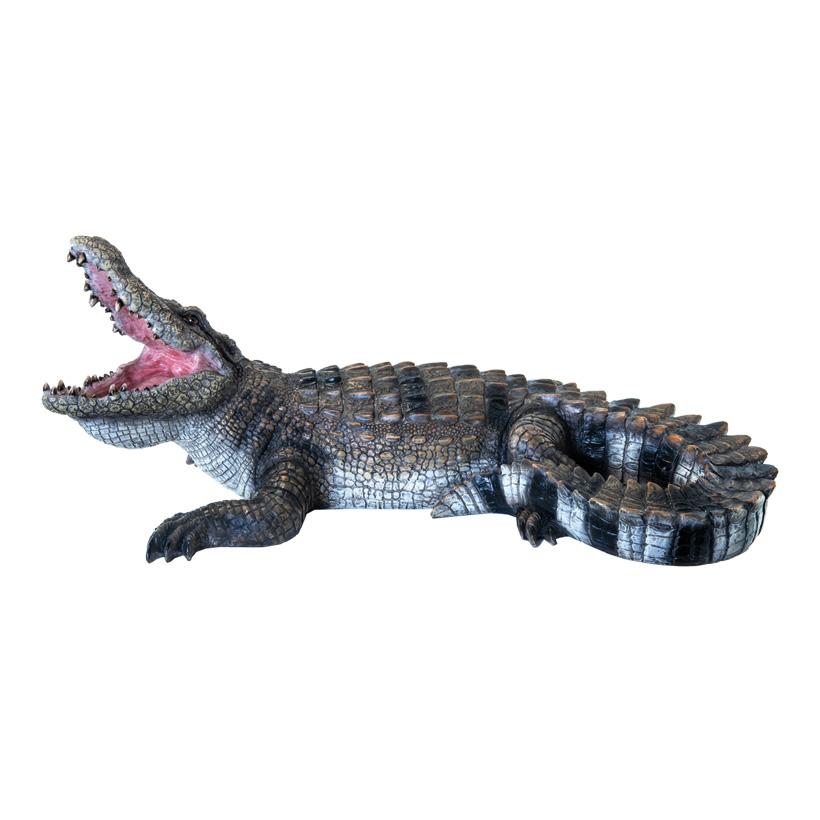Krokodil, L: 50cm B: 27cm liegend, Kopf gehoben, aus Kunstharz