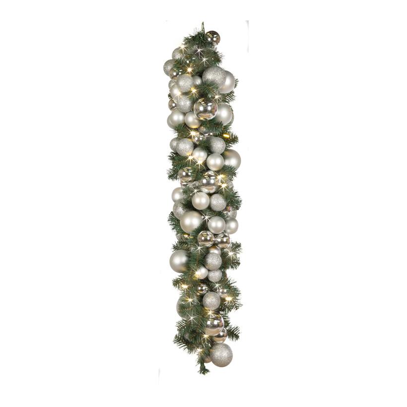 Tannengirlande, 100cm, 40LEDs, dekoriert mit Kugeln, 50x koppelbar, Kunststoff/PVC-Folie