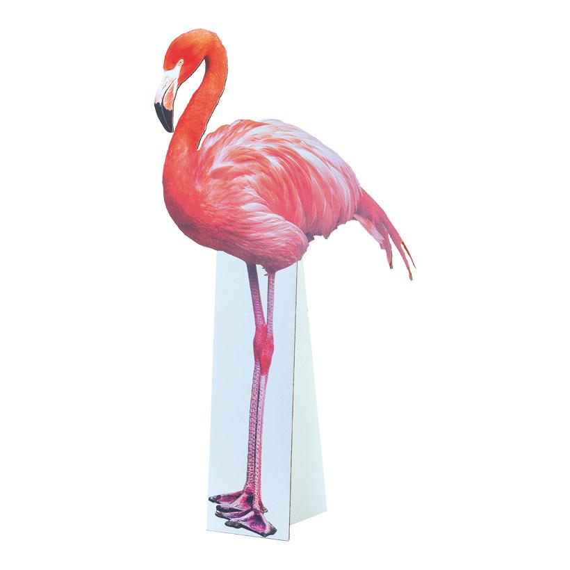"""# Cut-out """"Flamingo"""", 42x75cm mit klappbarer Pappstütze, aus Pappe"""