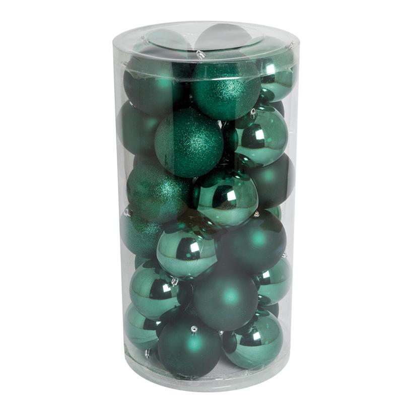 30 Weihnachtskugeln, dunkelgrün, Ø 10cm 12x glänzend, 12x matt, 6x beglittert