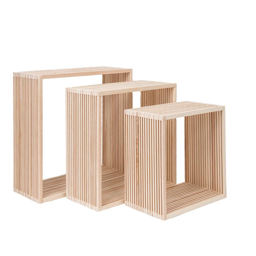 # Holzpräsenter, 45x45x18cm, 40x40x18cm, 33x33x18cm, im 3er-Set, ineinander passend