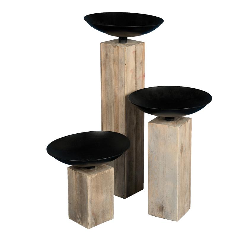 # Holzsäule mit Schale, Ø 37cm, H: 37cm, 56 und 87cm im 3er-Set