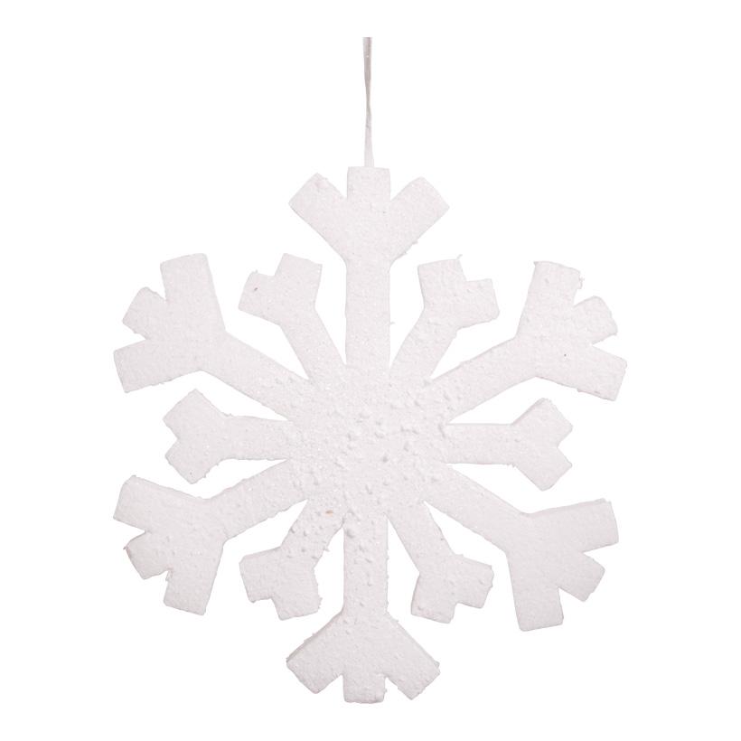 Schneeflocke, 30cm, mit Hänger, Schaumstoff, beschneit