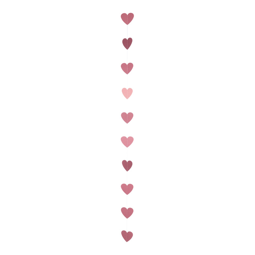 Papierherzengirlande, 190cm mit 10 Herzen in 10cm