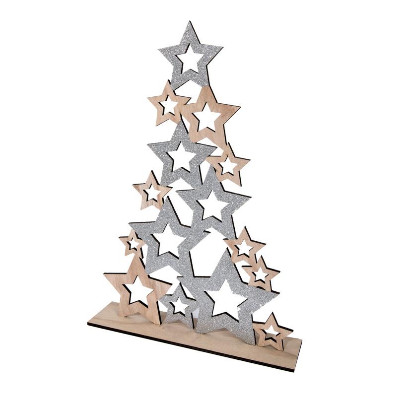 Holzbaum, 60cm aus Sternkonturen, mit Bodenplatte, beglittert