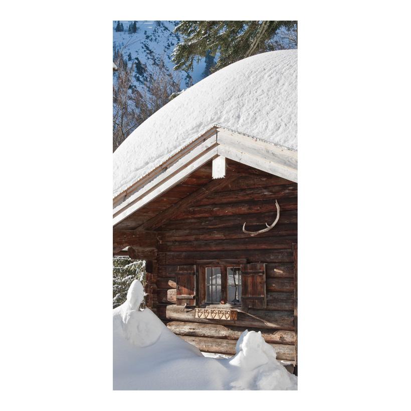 "# Motivdruck ""Berghütte im Winter"", 180x90cm Papier"