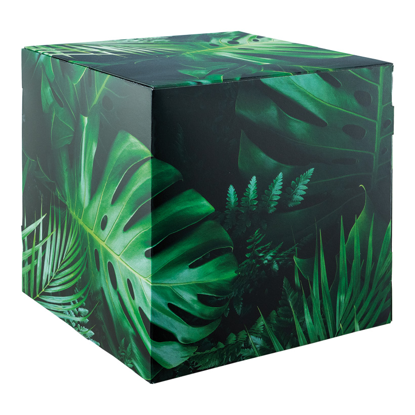 """# Motivwürfel """"Dschungel"""", 32x32x32cm Pappkreuz innen zur Stabilisierung, hohe Druck- und Materialqualität, 450g/m≤, aus Pappe, faltbar"""