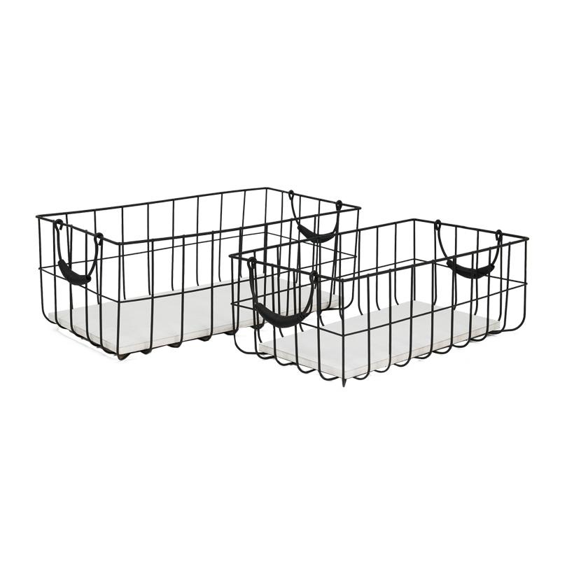 # Metallkörbe, 35x20x13,5cm + 41x22x16cm, 2er-Set, rechteckig, mit Holzplatte