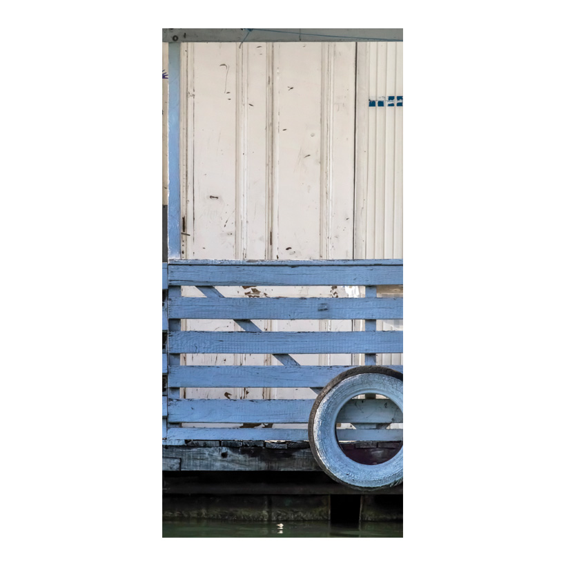"# Motivdruck ""Hausboot"", 180x90cm Stoff"