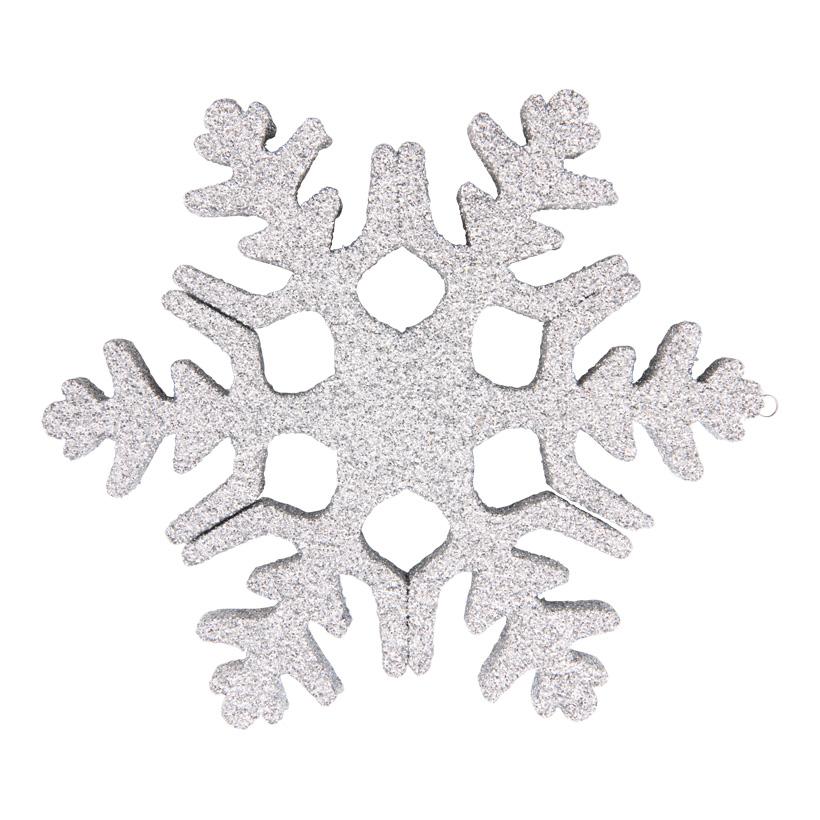 Schneeflocke, 20cm aus Styropor, beglittert, mit Aufhängeöse