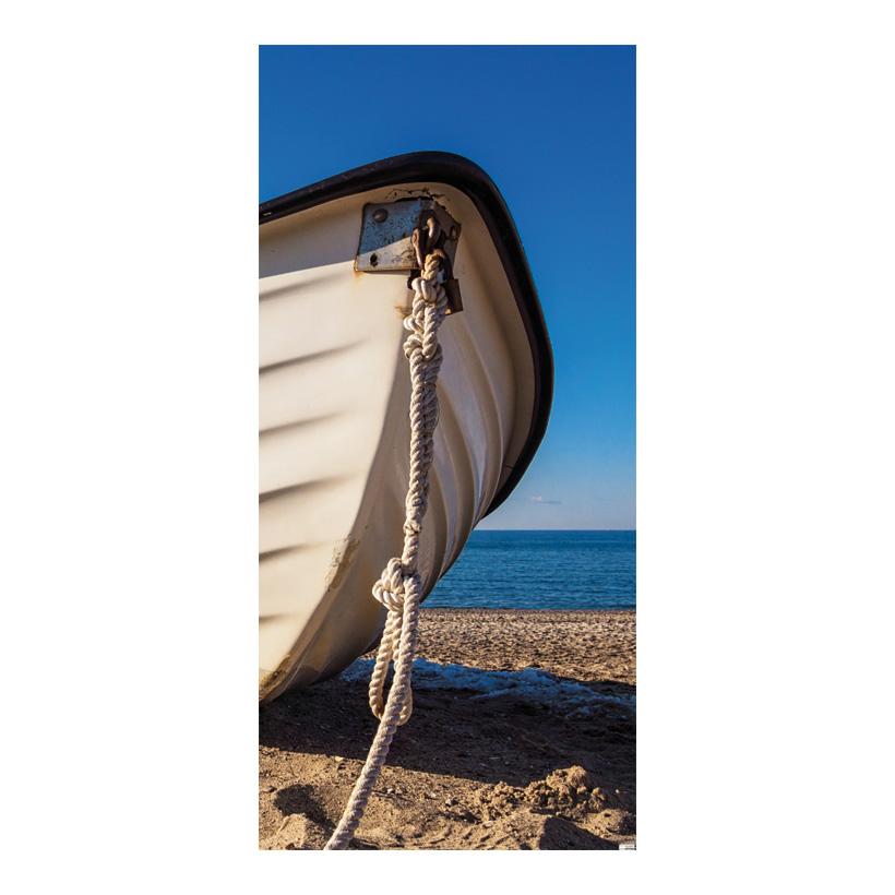 """# Motivdruck  """"Fischerboot am Strand"""", 180x90cm Stoff"""