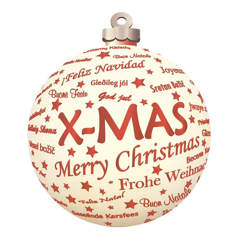 Weihnachtskugeldisplay, Ø20cm beidseitig bedruckt, mit Hänger, aus Hartschaum